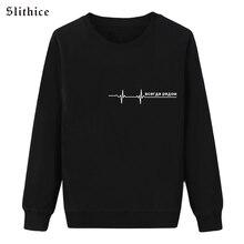 Slithice Harajuku Heartbeat Love Print Women sweatshirts Black hoodies Long Sleeve Casual Cotton female hoody