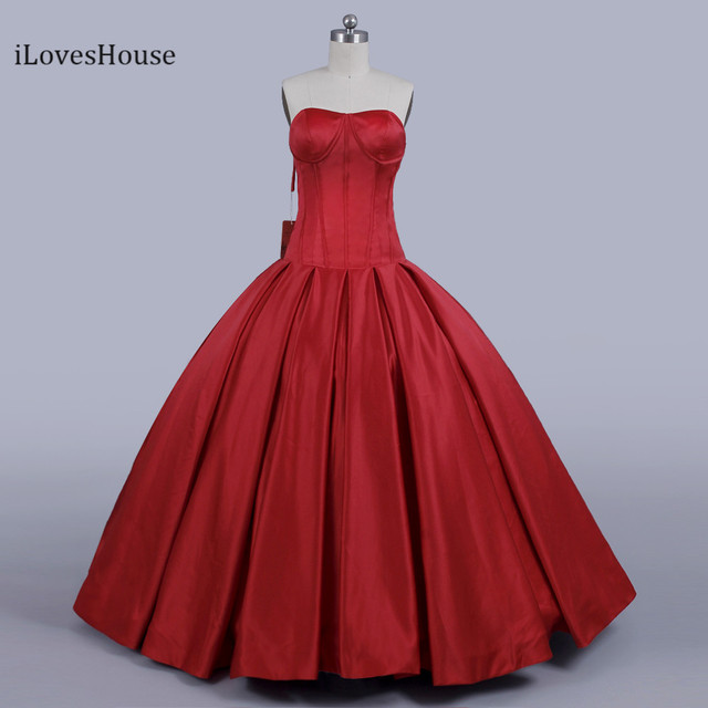 f14d384f5d3 iLoveWedding 2018 Elegant Simple Long Red Off Shoulder Prom Dress Satin  Puffy Ball Gowns Evening Gowns Vestido de festa longo