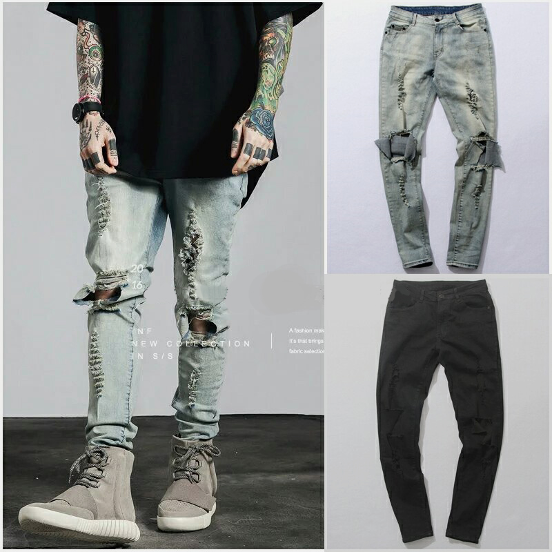 Ripped Jeans For Men Male Skinny Distressed Slim Famous Brand Designer Biker Hip Hop Black Denim Hole Jeans Pants Kanye West biker jeans mens brand black skinny ripped zipper full length pants hip hop cotton denim distressed pantalones vaqueros hombre