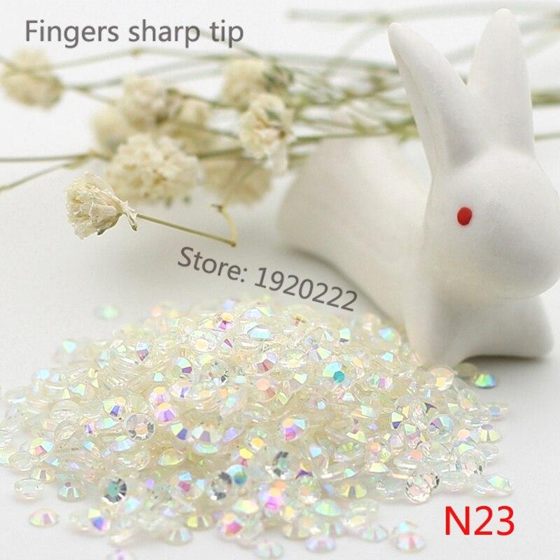 1000 piezas SS10 blanco transparente AB 14 facetas resina rhinestone - Arte de uñas