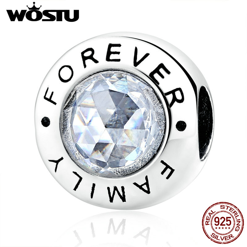 WOSTU High Quality 925 Sterling Silver Family Forever Charm Beads Clear CZ Fit Original Charm Bracelet Jewelry Gift