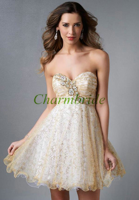 2014 short gold tulle homecoming dress hot,unique prom dresses under ...