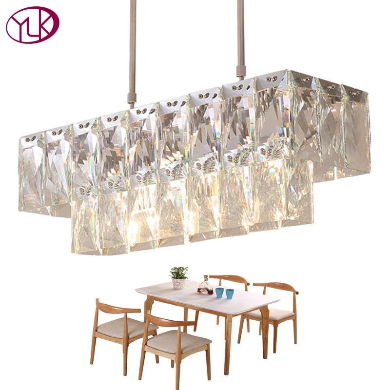 Youlaike Modern Chandelier Lighting AC110-240V Rectangle Crystal Light Chrome Kitchen Island Modern LED Cristals Lustres