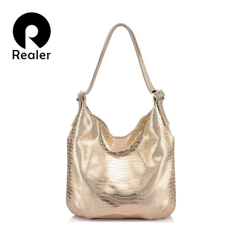 REALER shoulder strap bag women genuine leather handbags female adjustable animal prints totes designer ladies top-handle bags