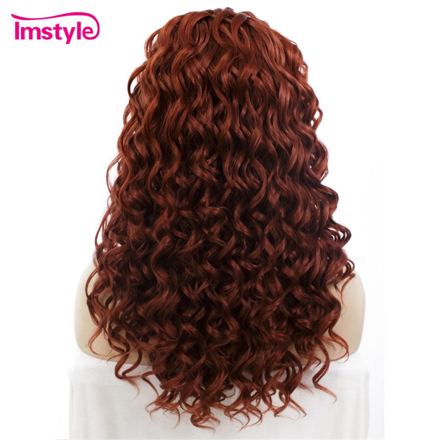 Imstyle Curly Reddish Red Wigs Synthetic Hair Lace Front Wigs For Women Heat Resistant Fiber Lace Wig Glueless Cosplay Wig