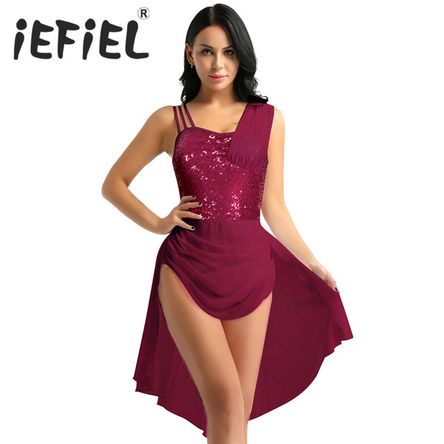 스팽글 여성 민소매 쉬폰 발레 댄스 레오타드 드레스 성인 서정적 인 현대 무용 연습 의상 레오타드 투투 드레스