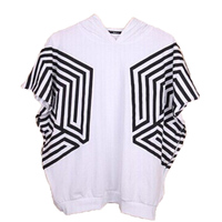 KPOP EXO Star SEHUN TAO Short Sleeved Hooded Shirt EXO Overdose Maze Bat Sleeve Side Zip