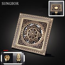 цена на Shower Drains 12*12cm Square Bath Drains Strainer Hair Antique Brass Art Carved Bathroom Floor Drain Waste Grate Drain DL-059F1