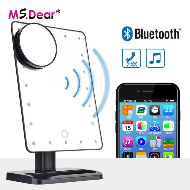Bluetooth Speaker 20 Leds Lights Makeup Mirror Tabletop Make Up
