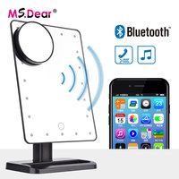 Bluetooth Speaker 20 LEDs Lights Makeup Mirror Tabletop Make Up Comestic Adjustable Vanity Mirror with 10x Magnification Mirror