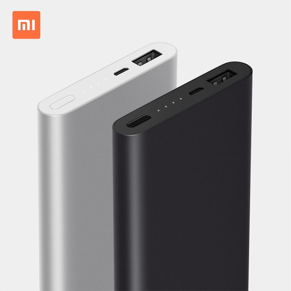 Original 10000mAh Xiaomi Mi Quick Charge Power Bank 2S Black Aluminium Universal Power External Battery for Smart Phone Pad