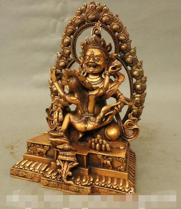 "10"" Tibet Buddhism Bronze Gilt Yellow Jambhala Consort Mandkesvara Buddha  Statue|Statues & Sculptures| - AliExpress"