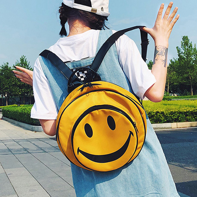 ETAILL Cute Smiley Face Print Large Round Backpack for Girls Yellow Nylon Backpack Students Travel Bag Preppy Style School Bag цена