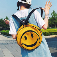 ETAILL Cute Smiley Face Print Large Round Backpack for Girls Yellow Nylon Backpack Students Travel Bag Preppy Style School Bag