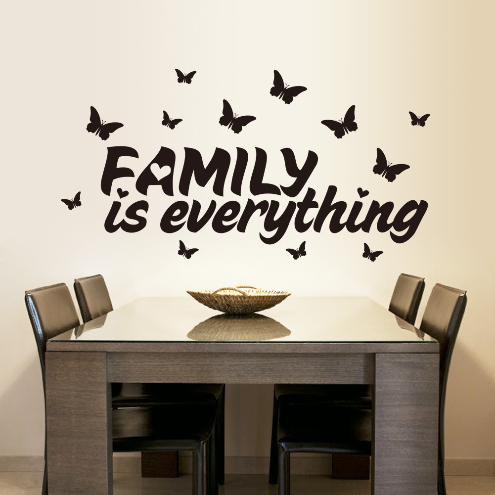 Family Is Everything Quotes Wall Stickers Removable Living Room Butterfly  Bedroom Vinyl Decoration Adesivo De Parede Home Decor