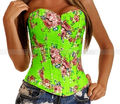 Green Demin Floral Overbust Corset Outerwear Top Lace up Jean Flowers Bustier S M L XL 2XL