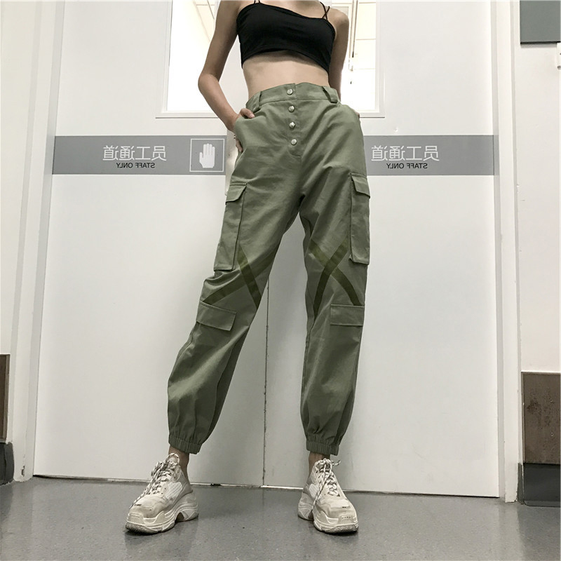 new & pre-owned designer moderate price popular brand US $34.75 50% OFF|Joggers Sweatpants Military Style Ladies Cargo Pants For  Women Baggy Safari Trousers Comfy High Waist Street Hip Hop Dance Green-in  ...