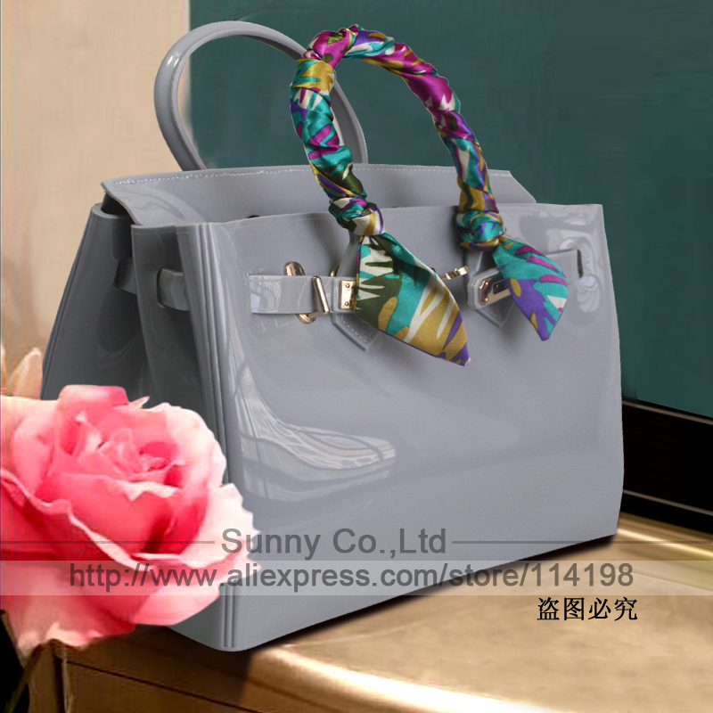 ФОТО High quality luxury fashion summer beach bag jelly candy color bag women tote casual lock bag purse bolsas office handbags