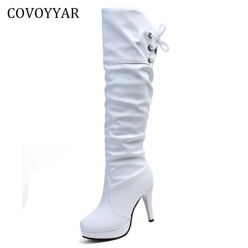 COVOYYAR 2019 Knee High White Boots Autumn Winter Platform Thin Heel Women Martin Boots Back Lace Up Shoes Women WBS759COVOYYAR 2019 Knee High White Boots Autumn Winter Platform Thin Heel Women Martin Boots Back Lace Up Shoes Women WBS759