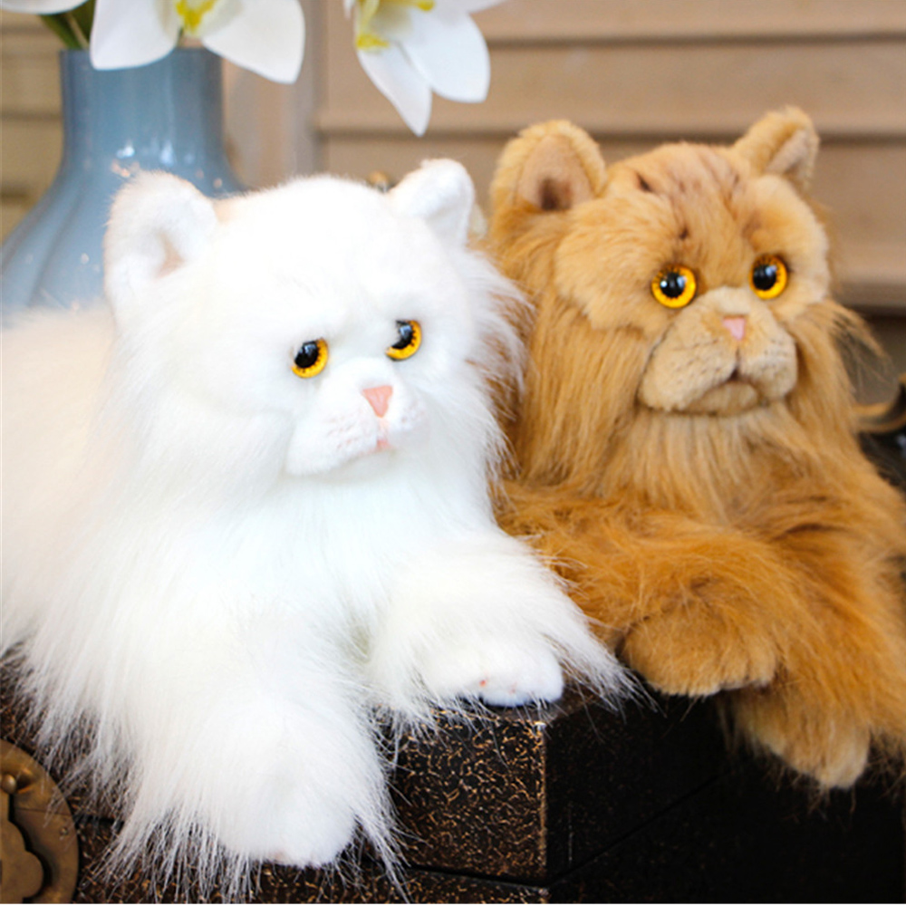 Fancytrader Pop Plush Simulation Cat Toy Lifelike Lovely Realistic Pets Cat Doll Decoration for Kids Gift 35cm 2 Colors fancytrader beautiful simulation fox toy