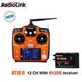 Nueva radiolink at10 ii sistema transmisor del rc 2.4g 12ch interruptor de control remoto con receptor para rc helicóptero rc drone r12ds