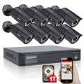 ZOSI 8-КАНАЛЬНЫЙ ВИДЕОНАБЛЮДЕНИЯ Система 720 P DVR 1 ТБ HDD 8 ШТ. 1200TVL ИК Открытый Всепогодный CCTV Камеры Безопасности Дома системы Видеонаблюдения Комплекты