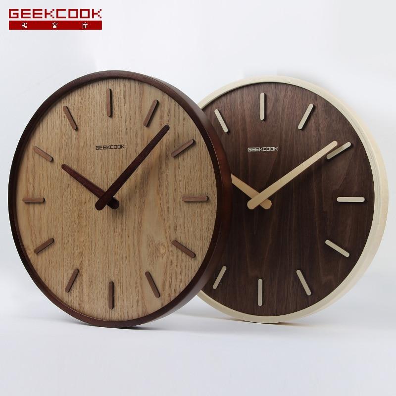 14 Inch Simple Design Bamboo Wall Clock Not Reflective Clocks Watch Study Time Bar Wall Clock
