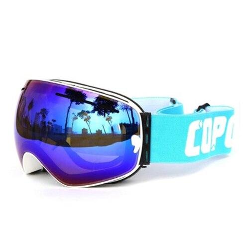 Copozz лыжи/очки для катания на сноуборде Двойной объектива UV Анти-Туман Лыжные очки (белый + синий)