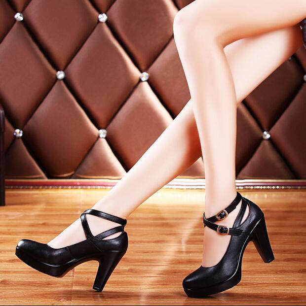 ФОТО Genuine Leather Women High Heels Pumps Female OL COMFORTABLE Black Work Shoes sy-777