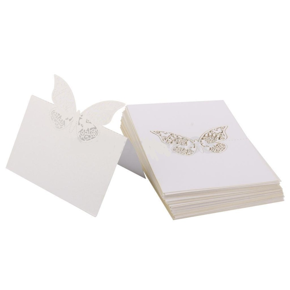 50pcs Laser Cut Butterfly Table Name Place Guest Card Recycled Paper ...