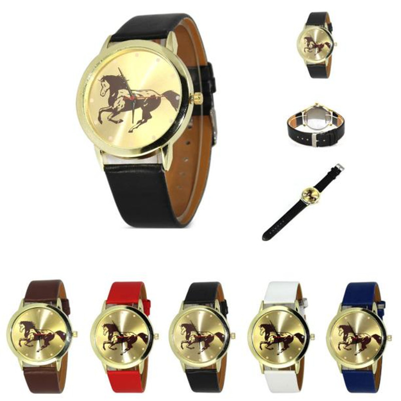 Newly Design Horse Animal Printed Watch Simple PU Leather Quartz Wrist Watches Drop Shipping wholesale Free shipping economic newly design 2 4mx1 2mx3cm cheap gymnastic mats