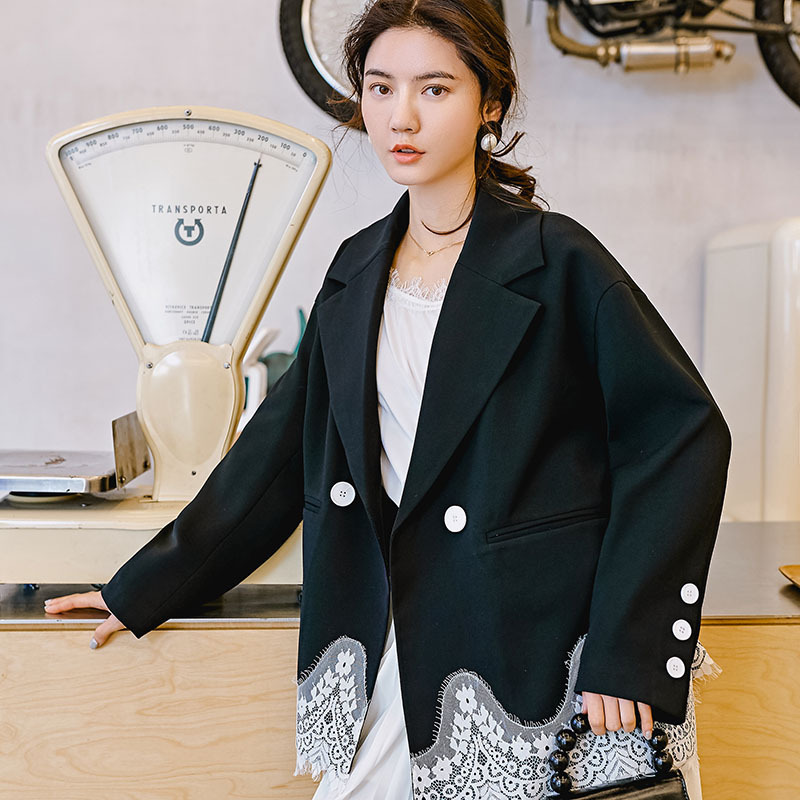 LANMREM 2019 New Fashion Design Lace Patchwork Hemline Personality Office Style Blazers Female s Contrast Color