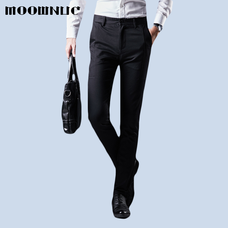 Fashion Trousers Men Pant No Ironing Winter Autumn Full Length MOOWNUC Casual Fit Business Suit Pant Youth Men MWC Gentleman