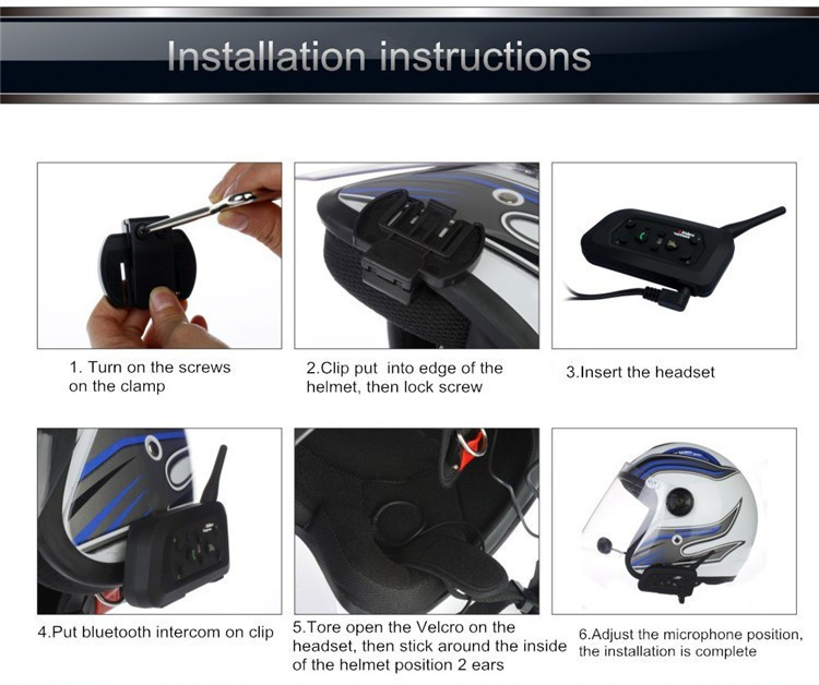1PCS V4+2 Pcs V6 Motorcycle Helmet Bluetooth Intercom System BT Stereo Interphone Handsfree Headset for 3 Riders Group Chat (12)