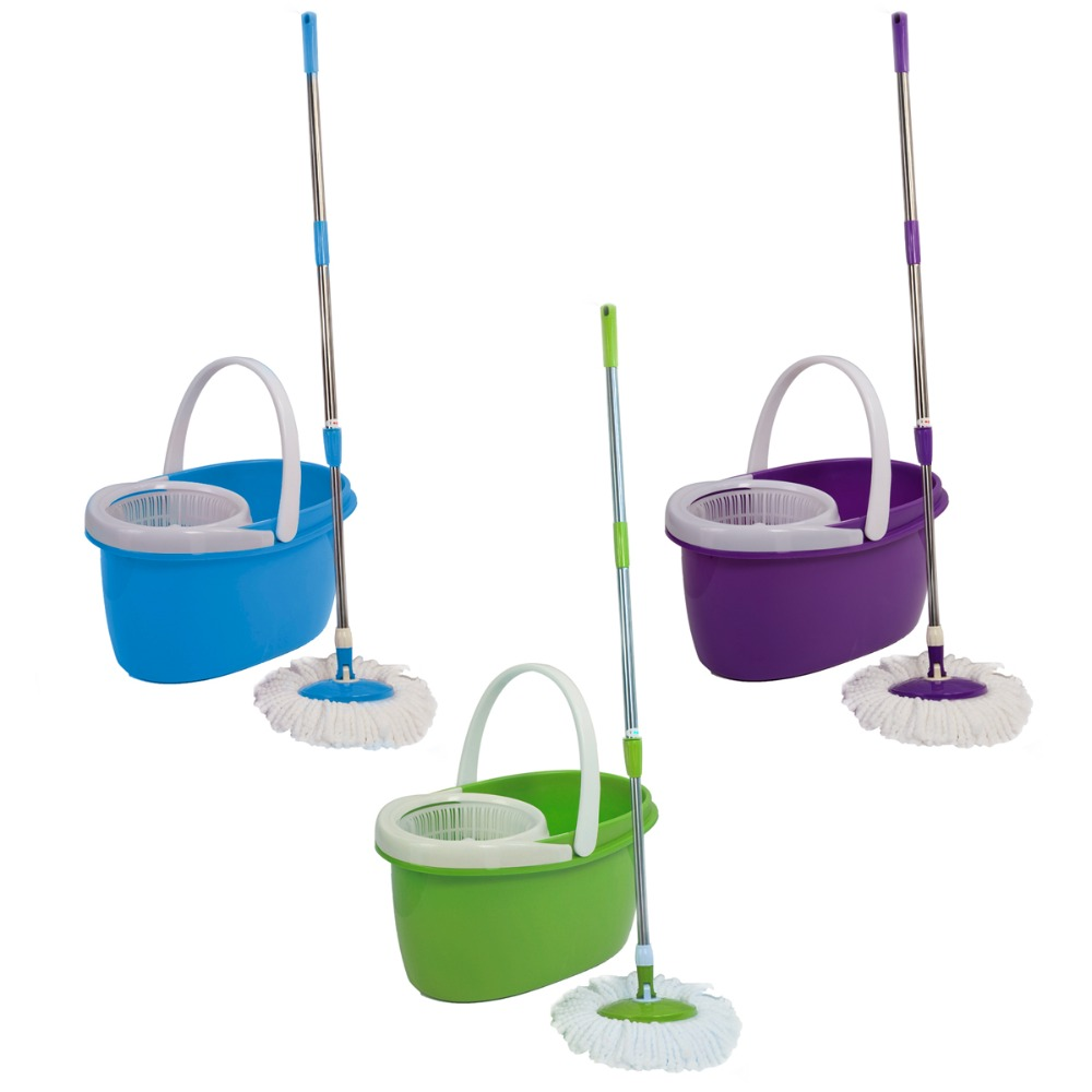 buy easy magic floor mop bucket 2 heads microfiber spin mop rotating head microfiber head for housekeeper cleaning cl11433 from reliable