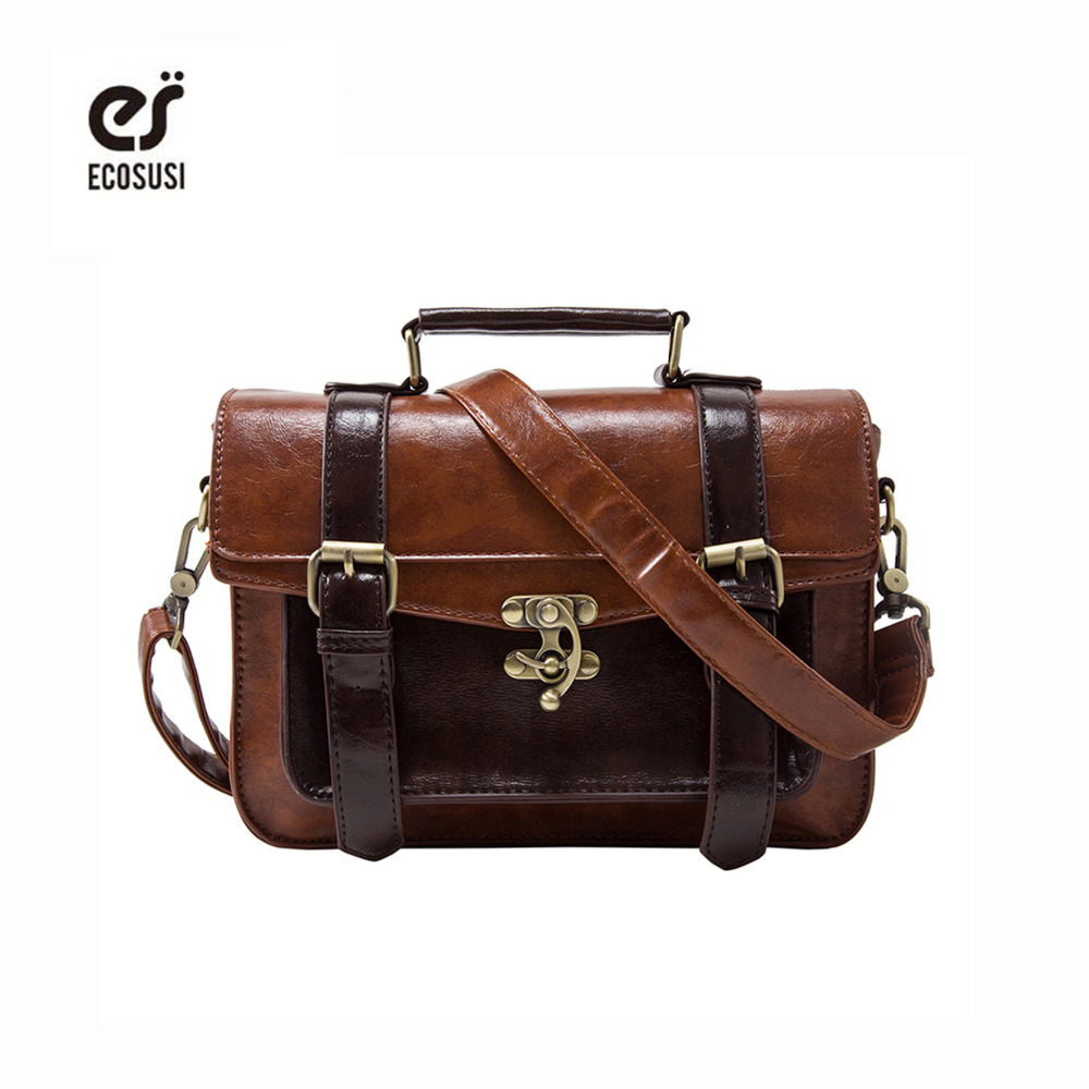 Ecosusi Women Vintage Messenger Bags Leather Bag Satchel Briefcase Crossbody Bag Retro Women Handbag Fashion Classic Mori Girls new leather women bag white fashion satchel simple atmosphere retro handbag speedy bag