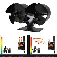 New 4 Blades Double Heat Powered Stove Fans F260 Fuel Energy Saving Stove Fan Eco Friendly