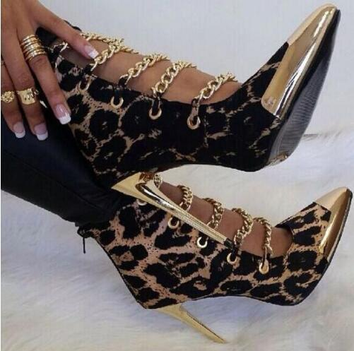 Sexy leopard 10 cm stiletto heels booties metal chains gold pointed toe cut-outs ankle boots women dress shoes size 35-41