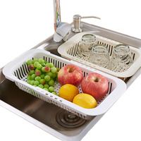 Kitchen Plastic Storage Can Retractable Sink Drain Storage Shelf Hollow Out Storage Rack Fruit Vegetable Cleaning Basket