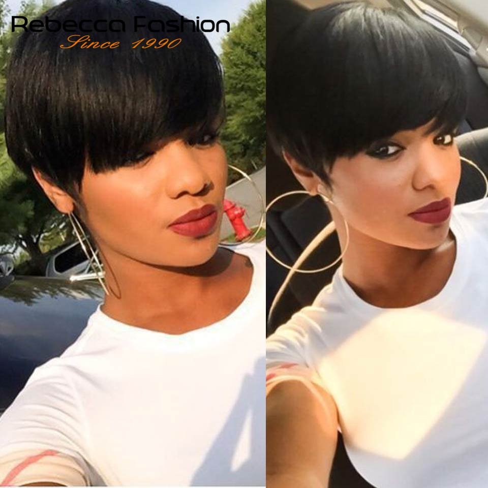 Wigs Rebecca-Hair Brazilian Straight for Black Women Color Dark-Brown Hair-Short-Wig-Machine