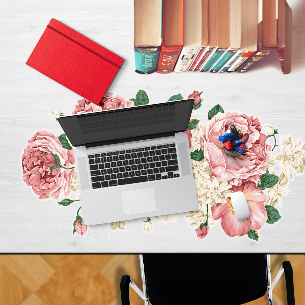 yazi Tablecloth Table Sticker Mouse Pad Waterproof Dustproof Oilproof Anti-Slip Pink Rose Flower Laptop PC Mice Pad 47x90cm