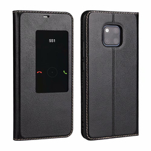 Genuine Leather Case For Huawei Mate 20 Pro Flip Magnetic Cover Window View Phone case Fundas