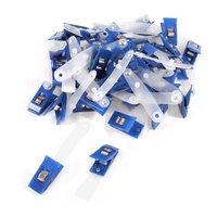 10pack 40 Pcs Plastic ID Card Holder Name Badge Clips Fastener Blue