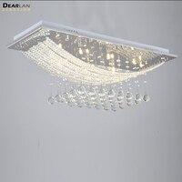 8 Огни Кристалл Потолочный Светильник Прямоугольник прозрачный кристалл блеск лампы G4 лампы для столовой комнаты для совещаний Крытый Деко