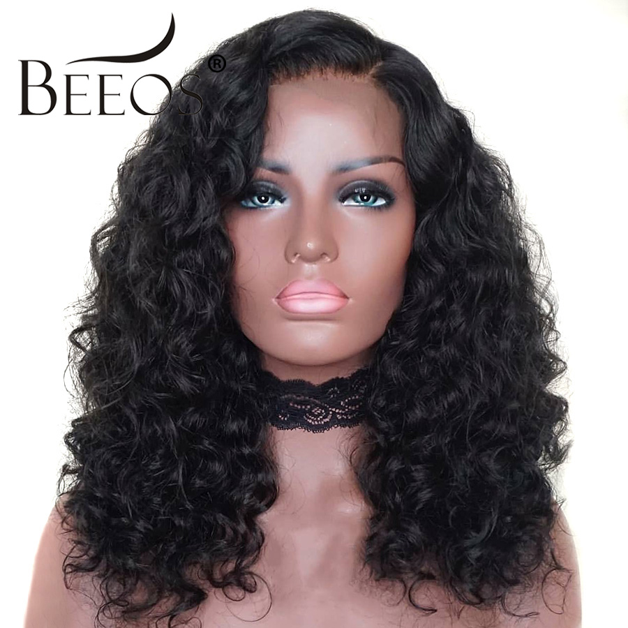 Beeos 360 Lace Frontal Human Hair Wig Peruvian Remy Curly Hair Pre Plucked With Baby Hair For Women Bleach Knots