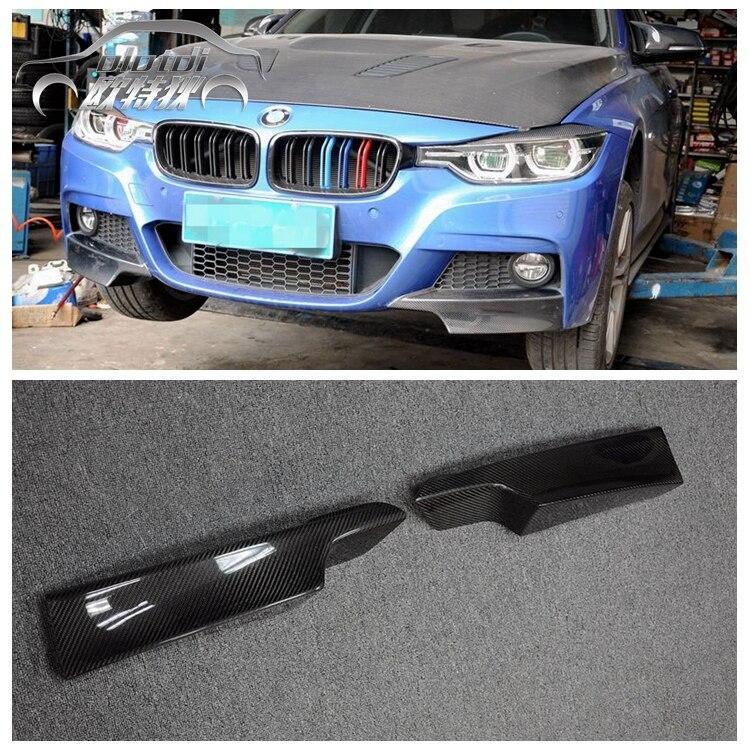 Top Quality 2PCS/SET Carbon fiber P Style Front Bumper Spoiler Splitter Car Bumper lip Apron for BMW Fit F30 M-TECH Bumper