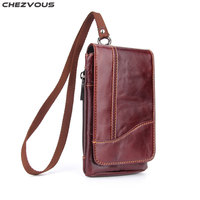 CHEZVOUS 6.3'' Universal Leather Belt Clip Holster for iPhone 7 8 6 plus 5 X Mobile Phone Fashion Mens Waist Bag for Samsung S8