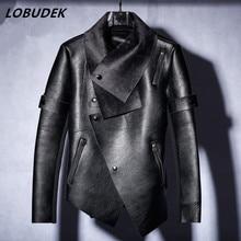 2017 male costume S XXXL size jacket blazer fashion outerwear Suede thickened Leather jacket dancer prom