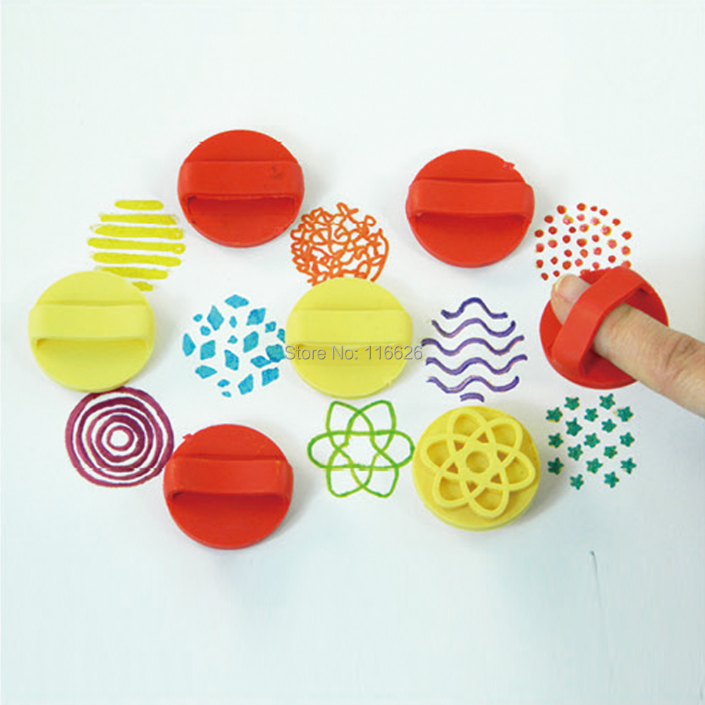 Free shipping children DIY creative handmade drawing stamp diy rubber stamp by finger 8pcs/lot
