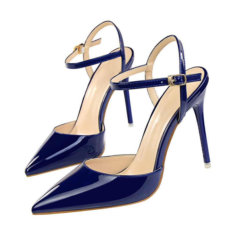 Plardin 2019 Delle Donne Concise Cinturino Alla Caviglia di Modo Scarpe Donna Scarpe A Punta Sottile Talloni delle donne Fibbia Chanel Pompe Degli Alti Talloni